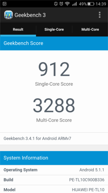 GEEK Bench 3 honor6 Plus 1