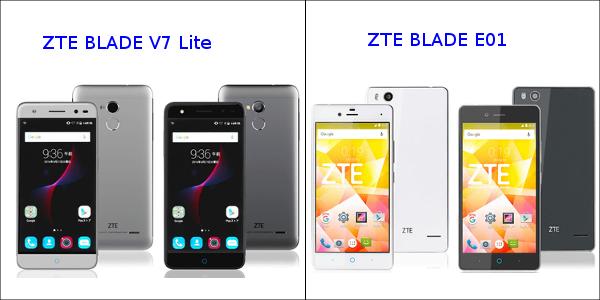 「ZTE BLADE V7 Lite」と「ZTE BLADE E01」
