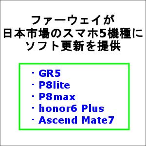 ファーウェイが日本市場のスマホ5機種にソフト更新を提供
