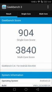 Huawei P9 lite GEEK Bench 3-1