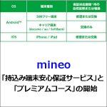 mineo「持込み端末安心保証サービス」と「プレミアムコース」の開始