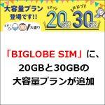 「BIGLOBE SIM」に、20GBと30GBの大容量プランが追加