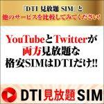 「DTI 見放題 SIM」では、YouTubeとTwitterがカウントされず使い放題